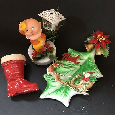 Vintage Christmas Decor Candy Container Santa Boot Paper Mache Mid Century