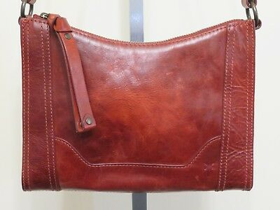 Frye Red Clay Distressed Leather Melissa Zip Crossbody Bag Purse New  Scratches 6141d2fc46a30