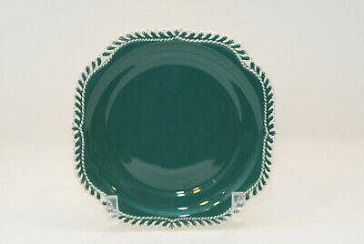 4 Harker Corinthian Pate Sur Pate Teal Green Square Salad Plate Plates