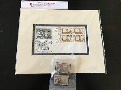 BOY SCOUT 1960 50th Anniversary Matted Picture & Two 3-D mounted Scout Stamps