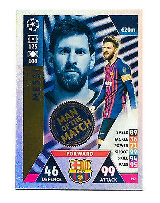 2018 2019 Topps Match Attax UEFA Champions League  MAN OF THE MATCH * Messi *