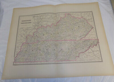 1884 Antique COLOR Map/KENTUCKY & TENNESSEE, Published by Bradley/19x24