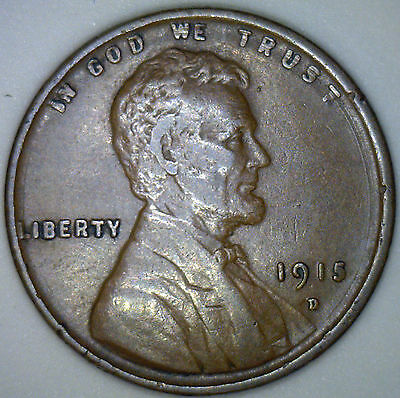 1915 D Lincoln Wheat Penny 1 Cent US Coin Grade Extra Fine (XF) #RR1