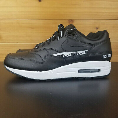936315511e76 Nike Air Max 1 SE Just Do It Black Logo White Women s Running Shoe 881101-