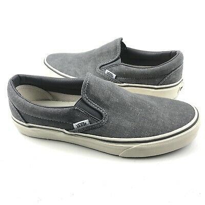 0ad9e38f74 VANS J Crew Unisex Nickel Gray Washed Canvas Classic Slip On Sneaker M 8