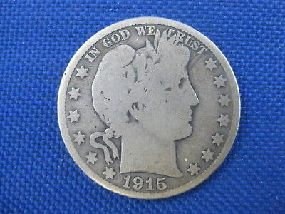 1915 S Barber Silver Half Dollar 50 Cent Coin