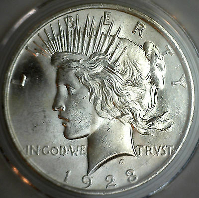 1923 Silver Peace Dollar Silver $1 Coin Brilliant UNCIRCULATED #M3