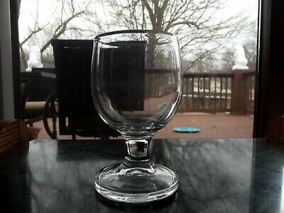 Large Water Goblet Glass, 19th century Antique Mold Blown Thick Base Stem Plain