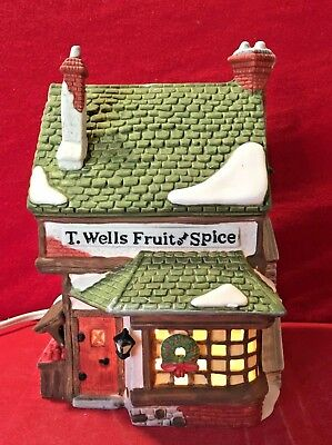 T Wells Fruit & Spice Shop Dept 56 Dickens Village 59242 Christmas store house A