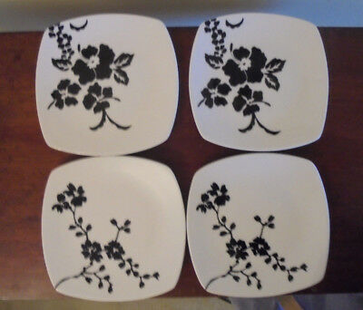 4 Coventry Fine China Square Coupe Salad Plates  2 Mon Cheri and 2 Babesques