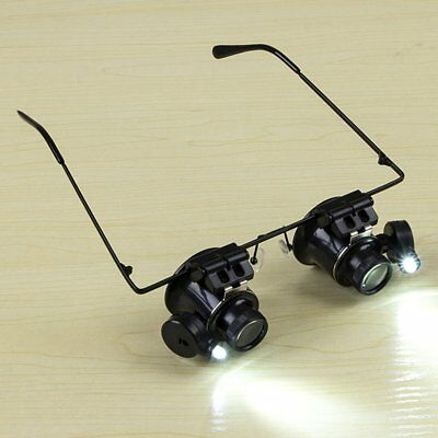 20X Glasses Type Magnifier Watch Repair Tool with Two LED Lights F1