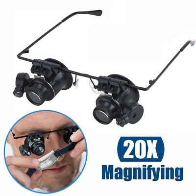 20X Glasses Type Binocular Magnifier Watch Repair Tool with Two LED Lights RPG