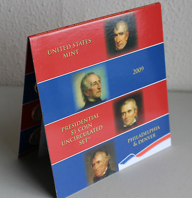 2009 Presidential $1 Coin Uncirculated Set 8 Golden BU Dollars US Mint OPENED