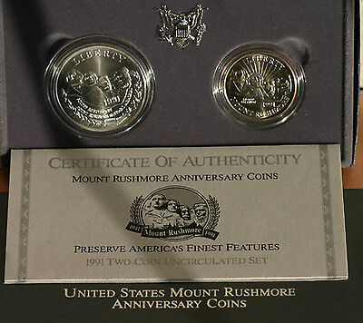 1991 Silver US Mint Mt Rushmore 2 Coin Commemorative 90% BU Dollar and Half Set