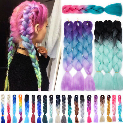 24INCH Sew in Afro Twist Braids Kanekalon Jumbo Braiding Ombre Hair Extensions