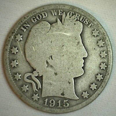 1915 D Barber Silver Half Dollar 50 Cent US Type Coin Good G