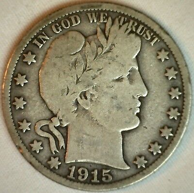1915 S Barber Silver Half Dollar 50 Cent US Type Coin VG K1