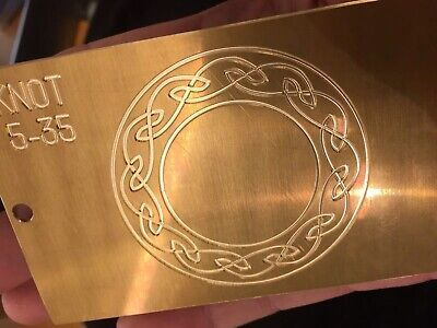 """Celtic Knot 3"""" X 5"""" Master Template Brass Engraving Plate For New Hermes Tray !"""