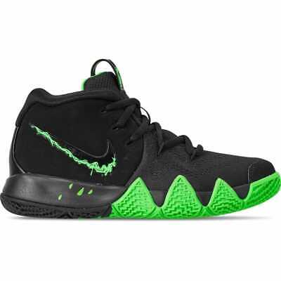 reputable site 2c853 3dcad Boys  Little Kids  Nike Kyrie 4 Basketball Shoes Black Rage Green AA2898 012