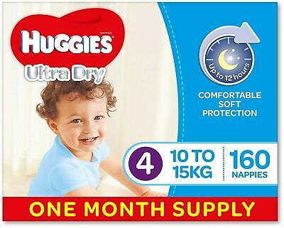 Huggies Ultra Dry Nappies, Boys, Size 4 Toddler (10-15kg), 160 Count, One-Month