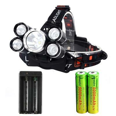 80000 LM 5 XM-L T6 LED USB Headlight Head Lamp Torch +2X18650 Battery Charger BE