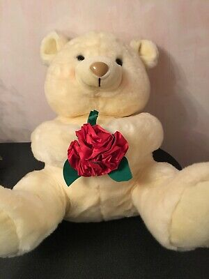 302686cbb9e Plush Teddy Bear W Flower Large White 24 Inch Stuffed Toy Valentines Day  Vintage