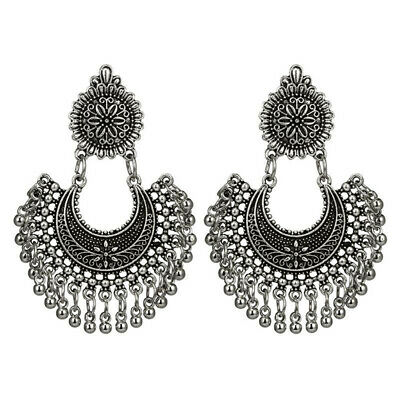 Metal Tassel Jhumka Indian Ethnic Bollywood Dangle Earrings Prevalent Jewelry