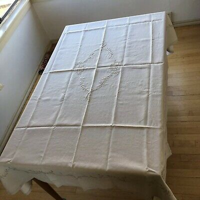 Vintage hand embroidered linen tablecloth Rectangle Cream Ecru 54 X 68 floral