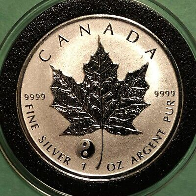 2016 Canada Maple Reverse Proof Yin Yang Privy 1 Troy Oz .9999 Fine Silver Coin