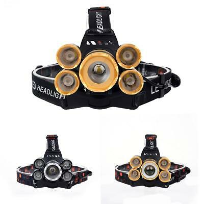 80000LM 5 T6 LED Rechargeable USB Headlight Zoom Fishing Flashlight Torch BE