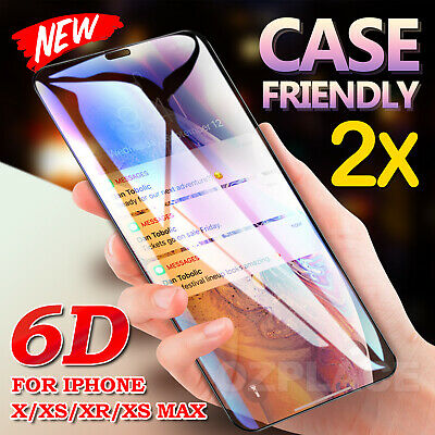 For iPhone XS Max XR 8 7 6s Plus 6D Full Cover Tempered Glass Screen Protector