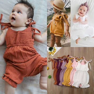Newborn Kids Baby Girl Sleeveless Solid Romper Bodysuit Jumpsuit Outfits Sunsuit