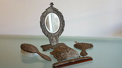 VINTAGE CAST BRASS DRESSING TABLE SET 5 Pc. HEAVILY DECORATED, BAKELITE INSERT.
