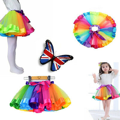 Rainbow Tutu Skirt Petticoat Multicolour Dress Kids Ballet Princess Dance Party