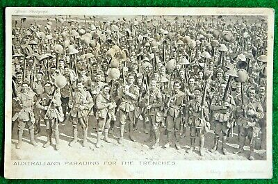 """WW1 Postcard """"Australians Parading for the Trenches"""""""