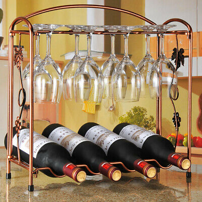 Wine Bottle Goblet Rack Bar Cups Holder Storage Organiser Display Shelf 2 Tiers