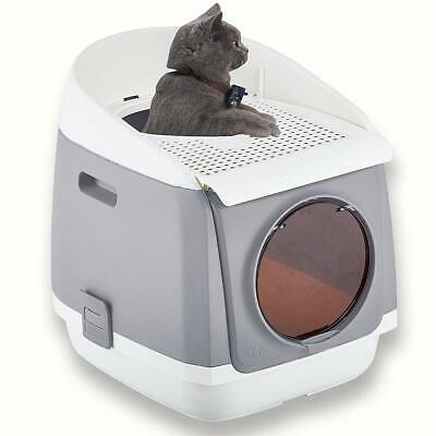 Two Door Entry Cat Litter Box Easy Clean Fully Enclosed Toilet Kitty Big Cat
