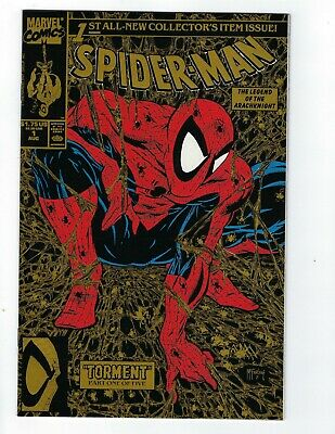 Spider-Man # 1 Gold Variant Nm To Nm/Mt Marvel Mcfarlane 1990