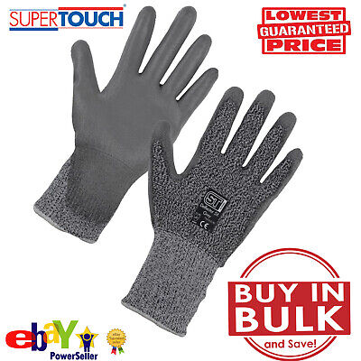 LEVEL 5 ANTI CUT RESISTANT BUILDERS WORK SAFETY GLOVES PROTECTION Mechanic PU