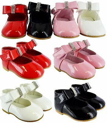 Kids Girls Infants Baby Childrens Bow Spanish Wedding Party Patent Toodler Shoes