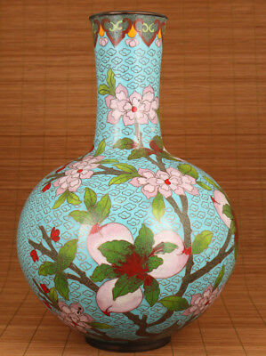 Antique chinese old cloisonne hand carved peach statue vase