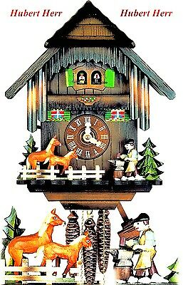 Hubert Herr,  Black Forest  lovely new 1 day weight driven musical cuckoo clock.