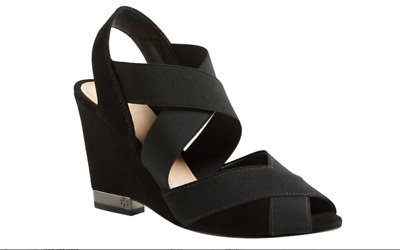 63531953d TORY BURCH BLACK stretch Debbie Wedge sandals Size 9 -  75.00