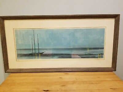 "BEAUTIFUL Signed Modernist Richard Florsheim Sailboat Lithograph-""TWILIGHT"""