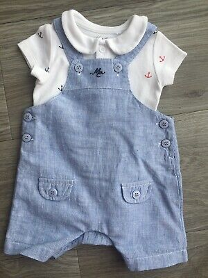 Baby Boys Mothercare Heritage Blue Nautical Romper Set Up To 1 Month Up To 10lbs