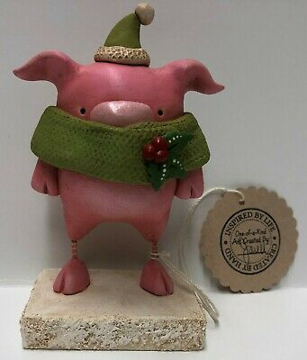 Original One Of A Kind Hand Formed Clay Whimsical Christmas pig- Janell Berryman