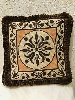 Antique French Velvet Pillow Needlepoint  Victorian Circa Late 1800's