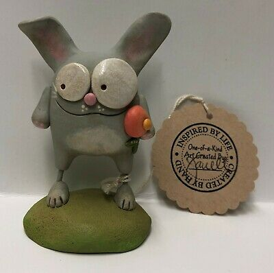 Original One Of A Kind Hand Formed Clay Easter bunny w/flower - Janell Berryman