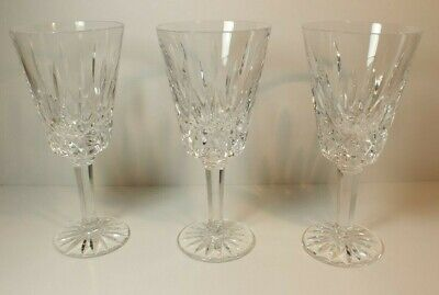 "3 Tyrone Irish Crystal Cut Heavy Wine Water Glasses 6 1/2"" MS31"