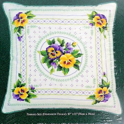 Elsa Williams PANSY ROMANCE PILLOW Crewel Embroidery Kit Spring Joan Marchie